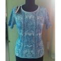 Женская кофта № 07122 бело-голубой