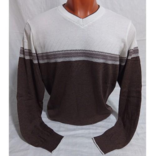 Мужской пуловер № 14108 бело-коричневый