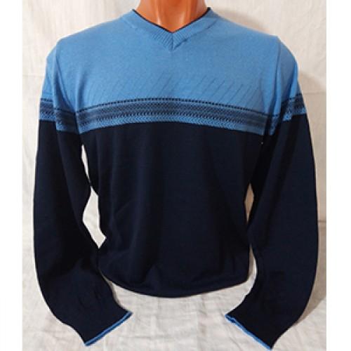 Мужской пуловер № 14108 голубо-т.синий
