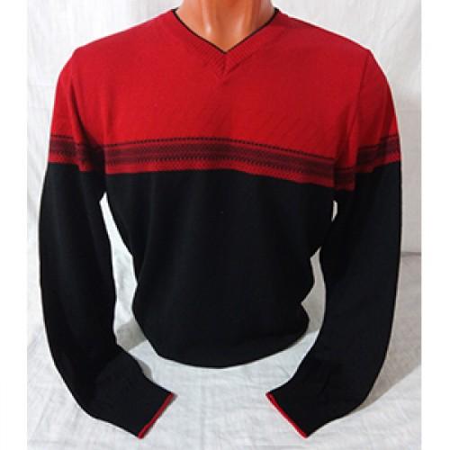Мужской пуловер № 14108 красно-чёрный