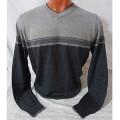 Мужской пуловер № 14108 серый-т.серый