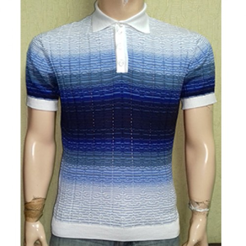 Мужская футболка № 14446 бело-т.синий